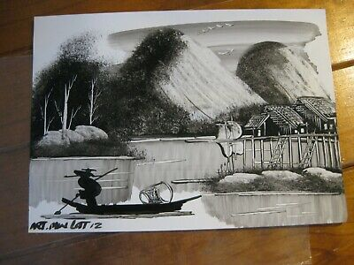 Ink Drawing Done By Street Artist - Myanmar / Burma (2012) Signed And Dated
