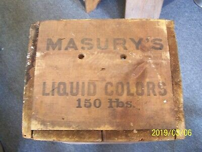 Antique Masury's Liquid Color Paint Wooden Shipping Crate - John W. Masury