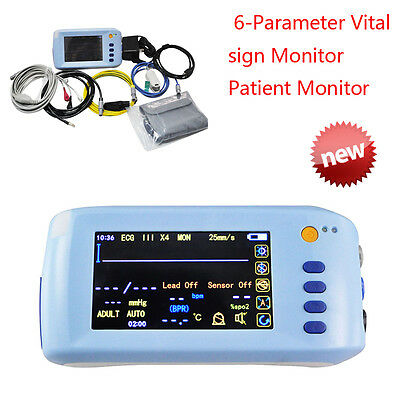 Handheld Touch Screen Vital Sign Patient Monitor  5Parameter ECG Spo2 PR Temp