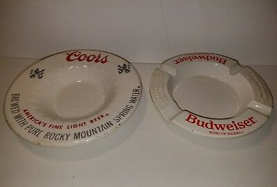 Vintage Lot of 2 Haeger Budweiser & Coors Ashtray Made in USA White Ceramic