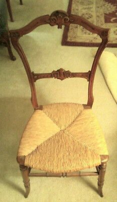 LADY's CHAIR 1780-1810, LIGHT WALNUT w CANE SEAT & CARVED BACK, English