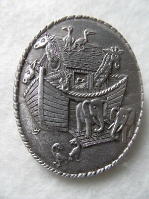 Wendell August Forge Pendant or Pin Noah's Ark Pairs of Animals Aluminum Oval