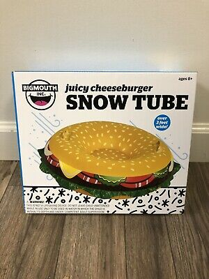 Big Mouth Toys, Juicy Cheeseburger Snow Tube, Over 3 feet Wide