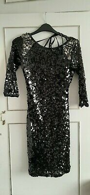 85002298a532 QUIZ ladies black silver sequin embellished dress backless size 6 New