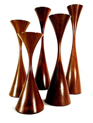 Mid-Century Modern Rude Osolnik Walnut Wood (5) Candle Holders Signed
