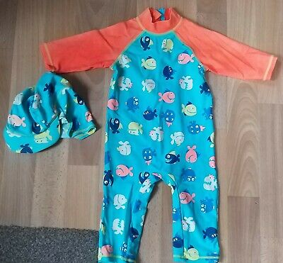 Mini Club Babys Age 12-18months Sunsafe Suit. Fish Design With Hat