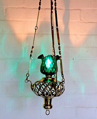 A Vintage Ethnic Brass Ceiling Light Mid Century Moroccan Emerald Glass Antique