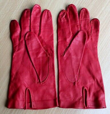 Vintage Cherry Red Kid Leather Gloves M