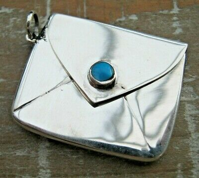 English Hallmarked Sterling Silver & Turquoise Arts & Crafts Style Stamp Case