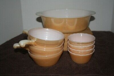 Lot of Vintage Anchor Hocking Fire King Ovenware Peach Lustre Ware