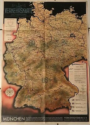 Germany, POST II WW MAP. ATLANTA REISE UND TRANSPORT VERKEHRSKARTE DEUTSCHLAND