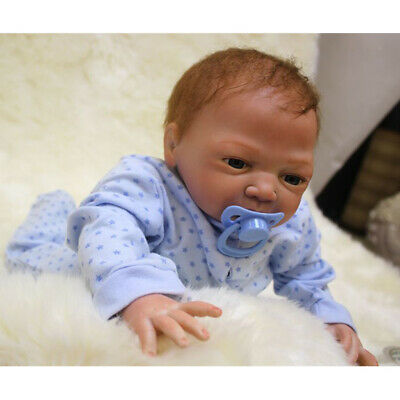 Lifelike 18inch Vinyl Silicone Newborn Baby Doll with Rooting Mohair Hair