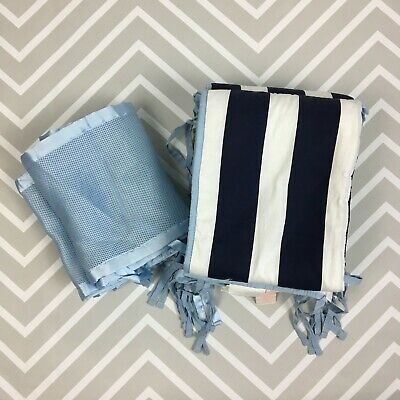 Bundle of 2 Baby Crib Bumpers Boys Sadie & Scout Padded and Blue Breathable Mesh