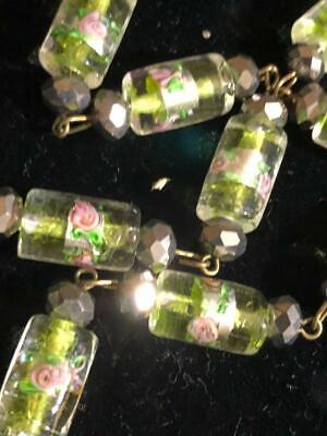 VINTAGE LEMON LIME FROST GLASS NECKLACE CLEAR BEADS with ENCASED PINK, FLOWERS