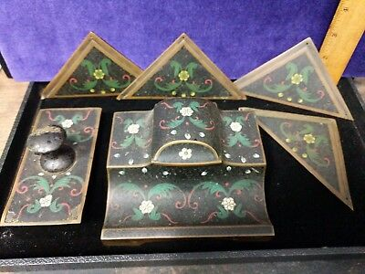Antique Vintage Brass Inlaid Hand Painted Desk Set Ink well blotter Blot Corn
