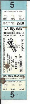 3-15-1983 Spring Training ticket Los Angeles Dodgers vs. Pittsburgh Pirates