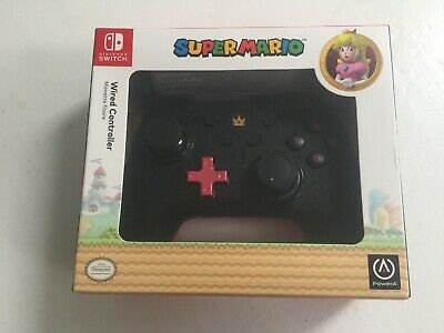 Nintendo Switch Controller Wired Princess Peach Super Mario Official Black Pink
