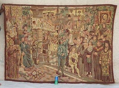 Big Vintage French Medieval Wall Hanging/Tapestry (131X189cm)