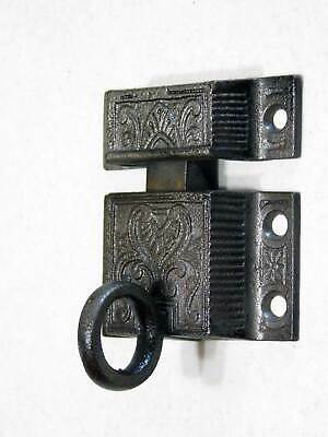 Antique Transom Window Latch in Decorative Cast Iron with Keeper, Working, Nice