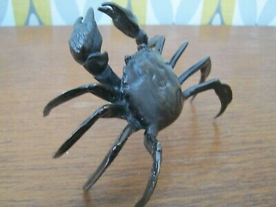 Fabulous Lost Wax / Hot Cast Bronze Of A Japanese Fighting Crab Meiji Style