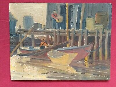 "Listed Canadian William Edward deGarthe 1907-1983 ""Unloading"" Peggy's  Cove, NS"