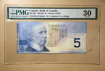 Canada BC-62b 2004-05 $5 Jenkins Dodge PMG 30 - Out of Register Printing Error