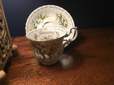 Royal Albert January Snowdrops Flower of the Month bone China Tea Cup & Saucer