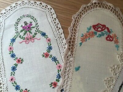 4 vintage hand embroidered Sandwich Tray Doilies