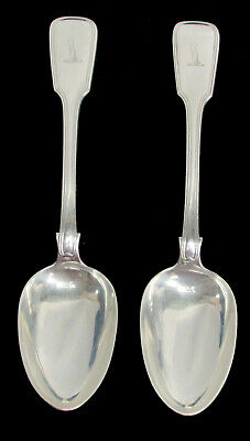 """1849-1850 London Sterling Silver Pair 9"""" Serving Table Desert Spoons Crested"""