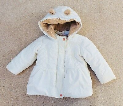 Girls cream winter coat with hood age 9-12 months from F&F polyester