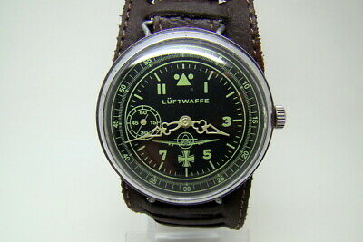 GERMAN PILOT LUFTWAFFE MILITARY WATCH WAR2 WW2 TYPE VINTAGE w STRAP