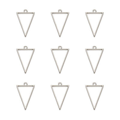 10PCS  Alloy Triangle Pendants Charms Jewelry Making Hollow Nickel Free Silver