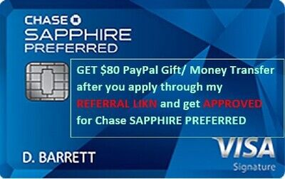 $80 Cash PayPal/ Venmo after approval for Chase Sapphire Preferred + 60K Points