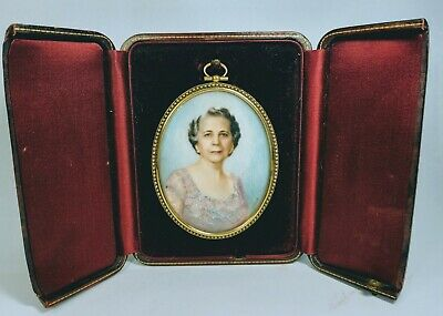 19th Century Oval Hand-Painted Portrait of Woman Signed in Bronze Frame and Case