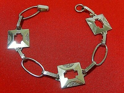 "Unusual Vtg. Hallmarked Sterling Silver Geometric Cut Out Link 7"" Bracelet"