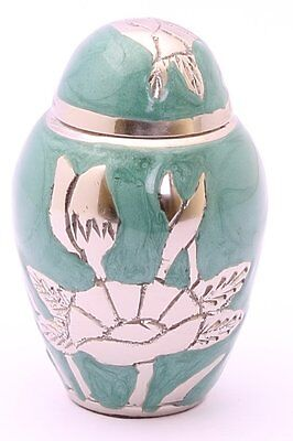 Mini Urn For Ashes, Cremation Memorial Remembrance Small Green Flower Keepsake
