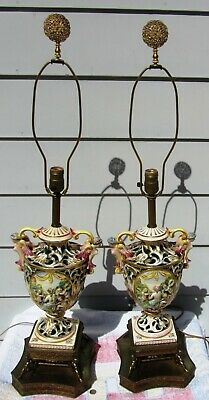 Massive Pair Antique Vintage Capodimonte Cherub Mythical Lamps Italian Working!