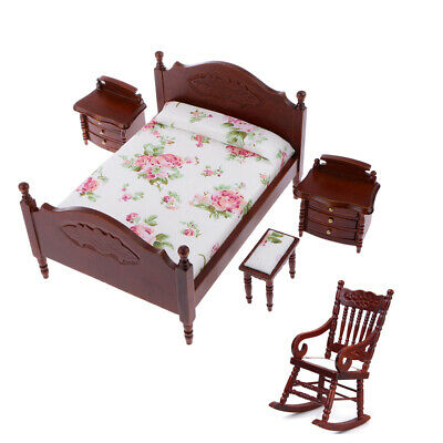 1/12 Dolls House Bedroom Furniture Kit - Bed Bedside Cabinet Rocking Chair