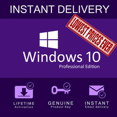MICROSOFT WINDOWS 10 PRO 32/64 BIT ACTIVATION LICENSE KEY + INSTANT Delivery !!