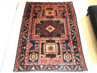 FINE Hand Made SHIRAZ Persian Carpet, Beautiful RED rug (6FT X 4FT) CLEANED