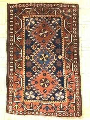 FINE HAND MADE SHIRAZ PERSIAN RUG, Beautiful NAVY RED CARPET (2FT X 1FT) CLEANED