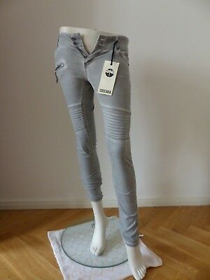L32  schmales Bein COCCARA  Jeans  BELLA black used  W25,26,27 feines Muster