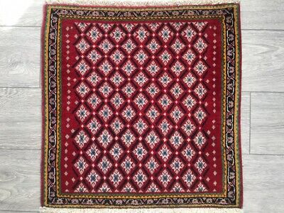 FINE HAND MADE SHIRAZ PERSIAN RUG, Beautiful NAVY RED CARPET (2FT X 2FT) CLEANED