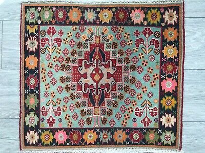FINE HAND MADE SHIRAZ PERSIAN RUG, Beautiful BLUE RED CARPET (2FT X 1FT) CLEANED