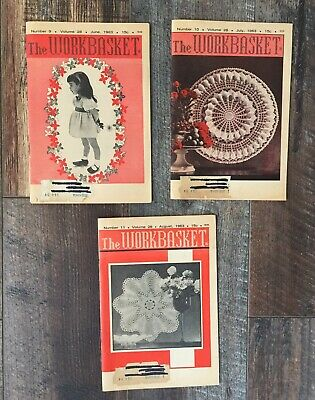 Vintage The Workbasket Magazine Lot of 3 Issues 1963 June July August