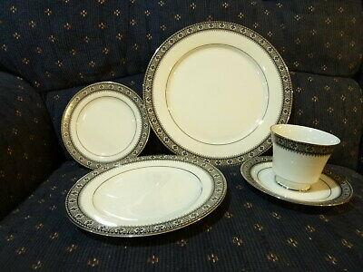 NORITAKE Segovia Pattern-5 Piece Place Setting*Dinner/Luncheon/Bread Plate/Cup&S