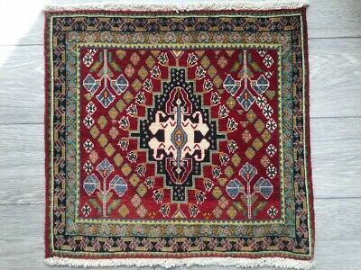 FINE HAND MADE SHIRAZ PERSIAN RUG, Beautiful RED CARPET (2FT X 2FT) CLEANED