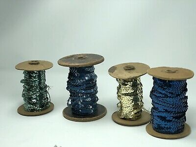 4 Vintage Spools Of Sequins On Thread Lot Blues Gold Teal