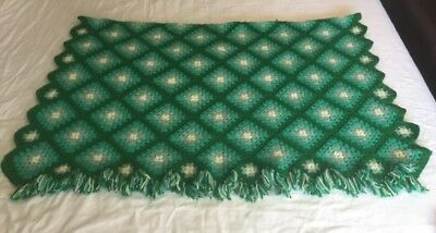 "Vintage Hand Knitted Crocheted Blue Green Square Fringe Throw Blanket 54""x70"""