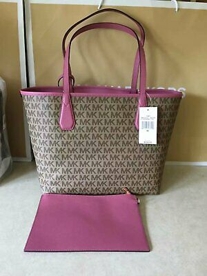 f160f951e59357 MICHAEL KORS Candy Moss Navy Leather Reversible Tote - $91.98 | PicClick